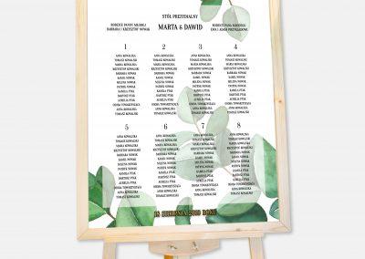 PLAN STOŁÓW - Eukaliptus inicjały