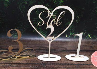 Numery stołów ze sklejki (1) Ornament, (2) Serce, (3) Cyfra