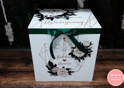 "Drewniane pudełko na koperty ""Zielone serce"""