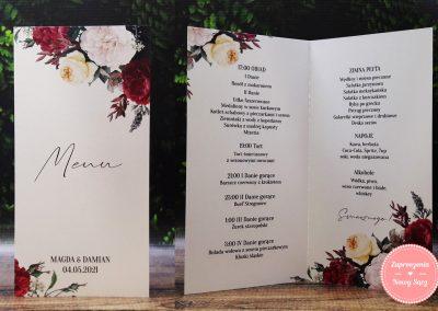 "Menu weselne ""Bordowe róże"""