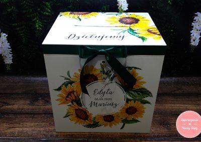 """Drewniane pudełko na koperty """"Słoneczniki"""""""