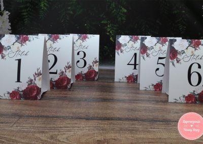 "Numer stolika A6 ""Bordowe róże"""