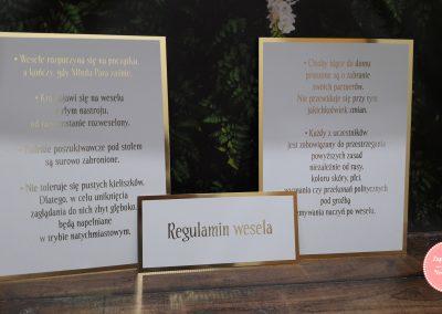 Regulamin wesela 1 + 4 - złocone karty