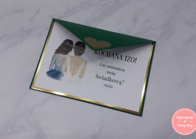 Kartka dla świadkowej ze złotą ramką